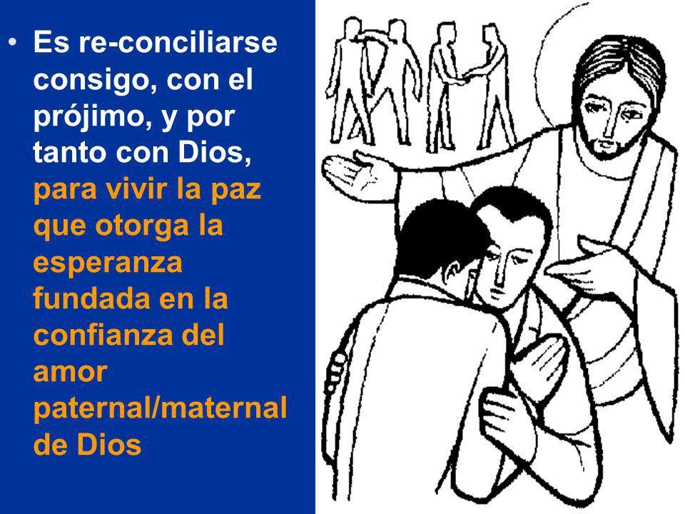 Es re-conciliarse consigo, con el prójimo, y por tanto con Dios, para vivir la paz que otorga la esperanza fundada en la confianza del amor paternal/maternal de Dios