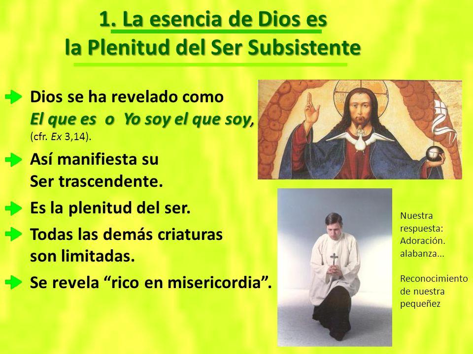 1. La esencia de Dios es la Plenitud del Ser Subsistente