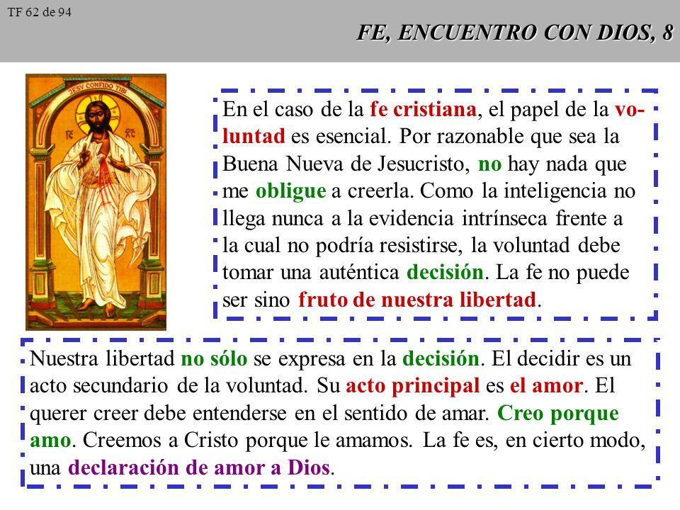 En el caso de la fe cristiana, el papel de la vo-