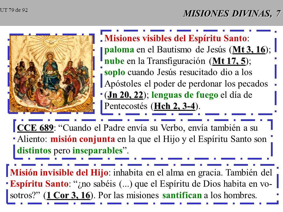 Misiones visibles del Espíritu Santo: