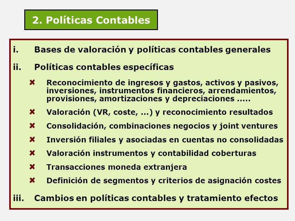 2. Políticas Contables Bases de valoración y políticas contables generales. Políticas contables específicas.