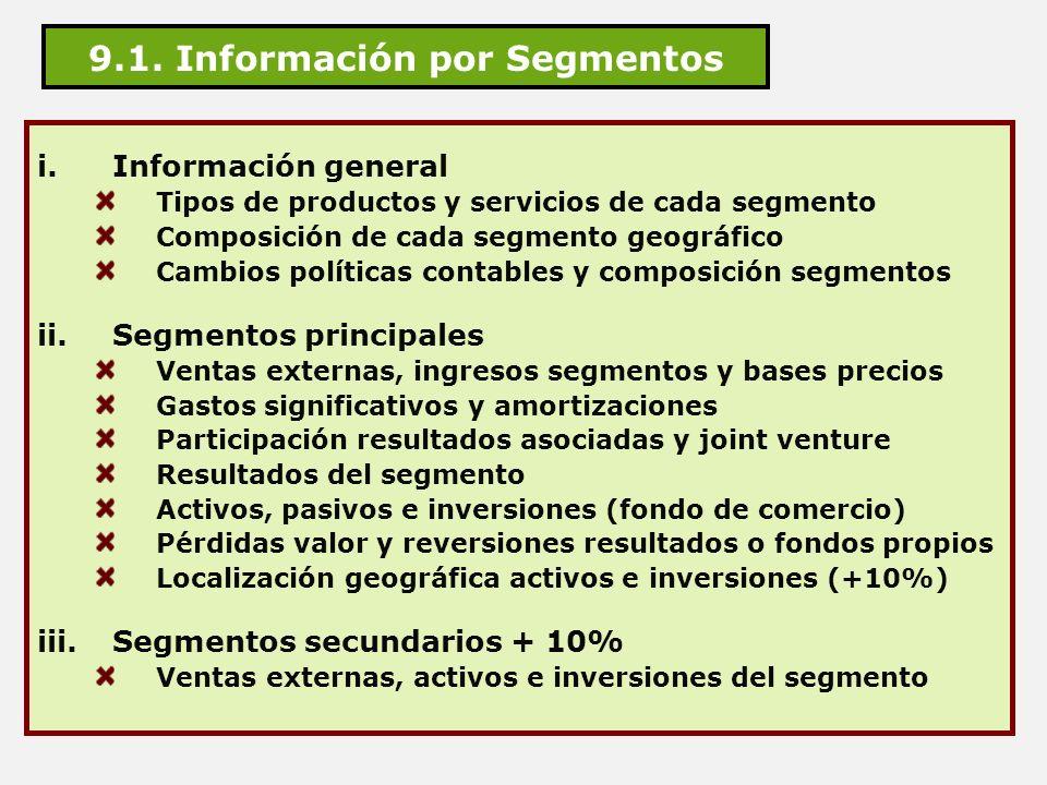 9.1. Información por Segmentos
