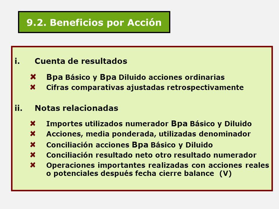 9.2. Beneficios por Acción Cuenta de resultados