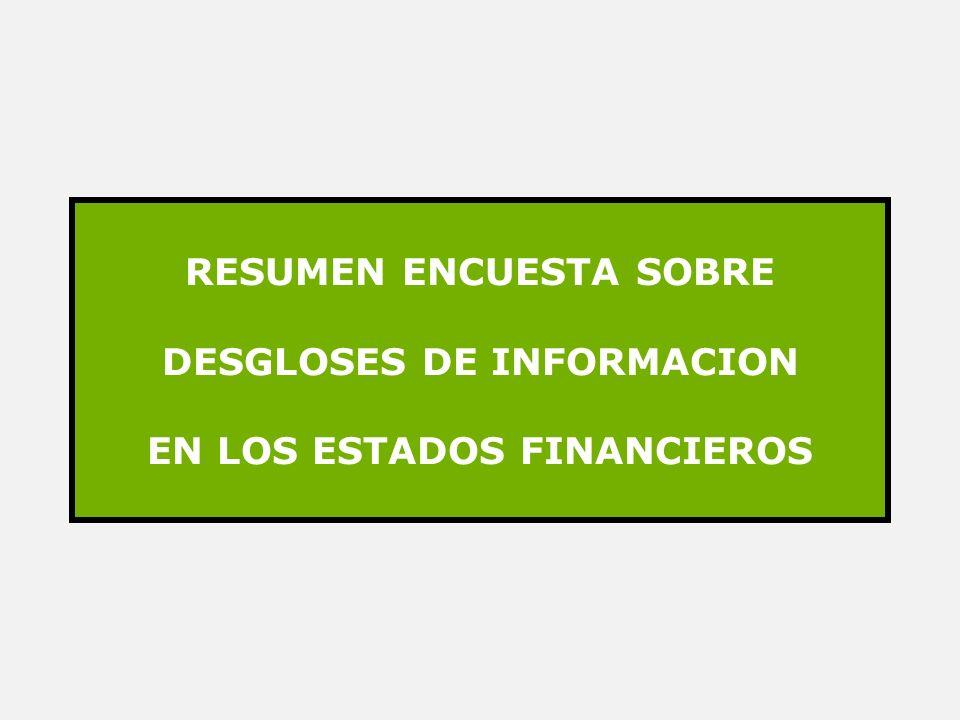 RESUMEN ENCUESTA SOBRE DESGLOSES DE INFORMACION EN LOS ESTADOS FINANCIEROS