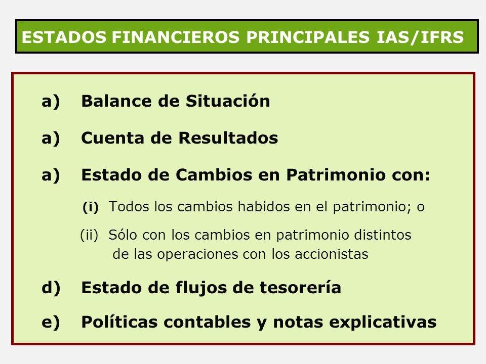 ESTADOS FINANCIEROS PRINCIPALES IAS/IFRS