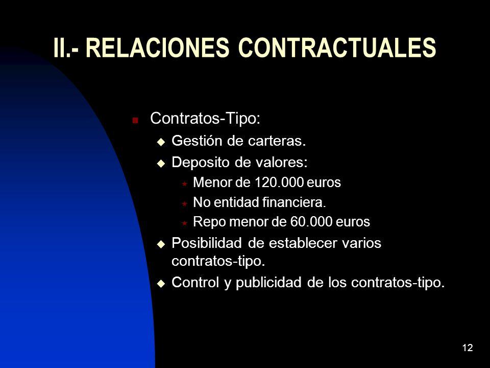 II.- RELACIONES CONTRACTUALES
