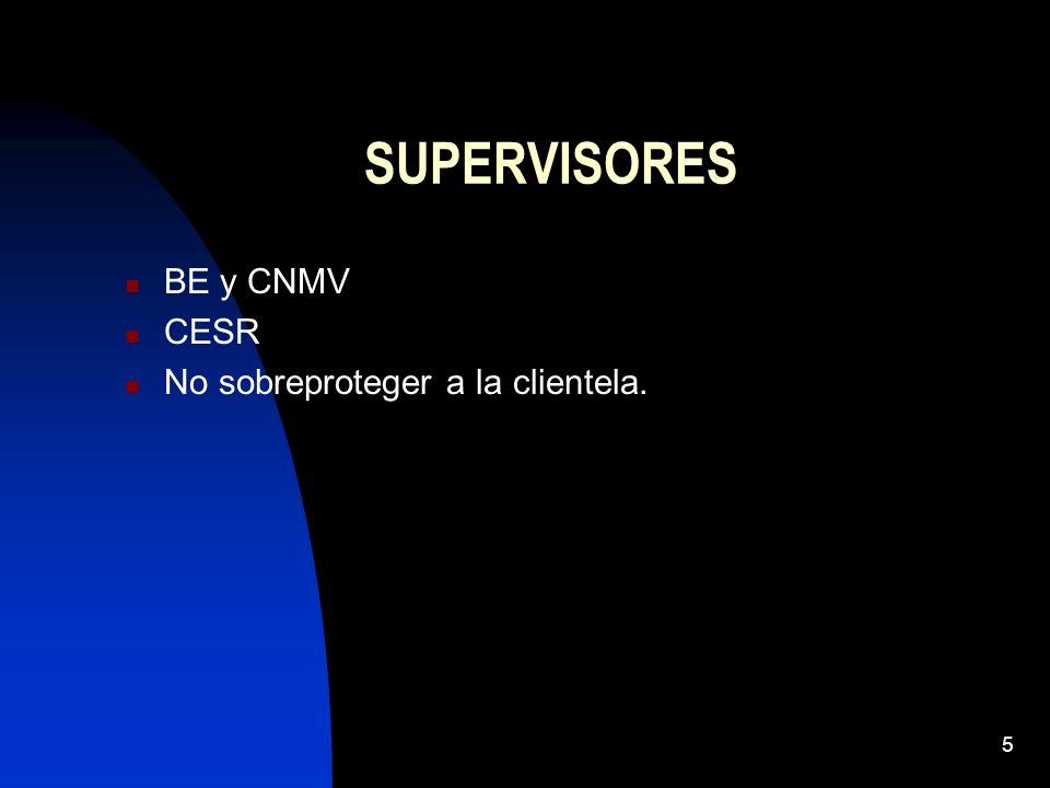 SUPERVISORES BE y CNMV CESR No sobreproteger a la clientela.