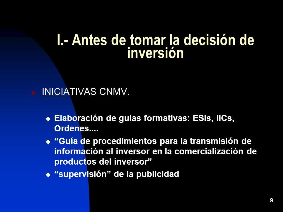 I.- Antes de tomar la decisión de inversión