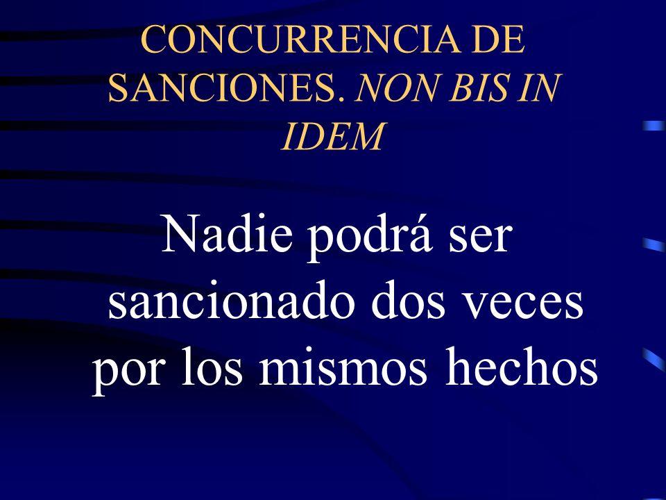 CONCURRENCIA DE SANCIONES. NON BIS IN IDEM
