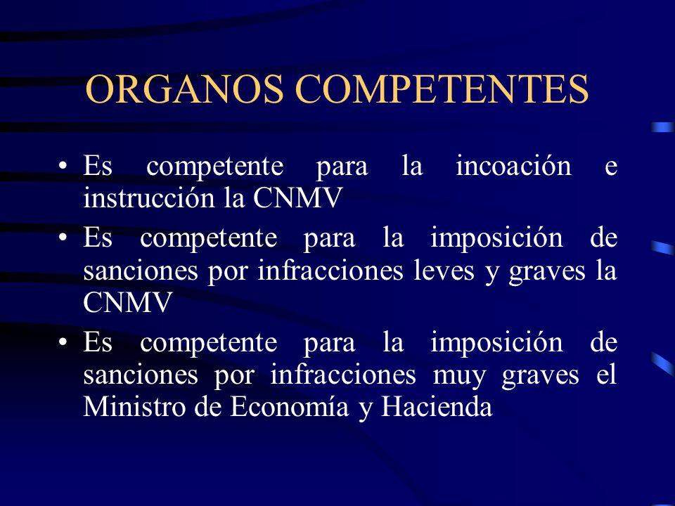 ORGANOS COMPETENTESEs competente para la incoación e instrucción la CNMV.