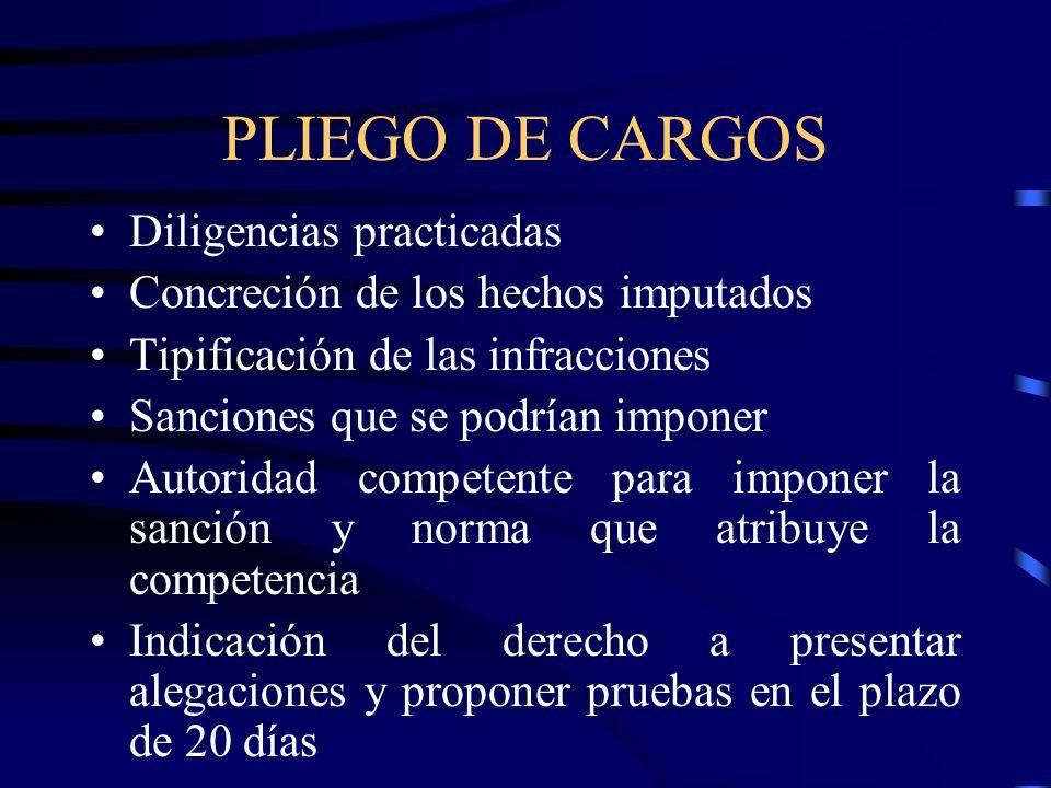 PLIEGO DE CARGOS Diligencias practicadas