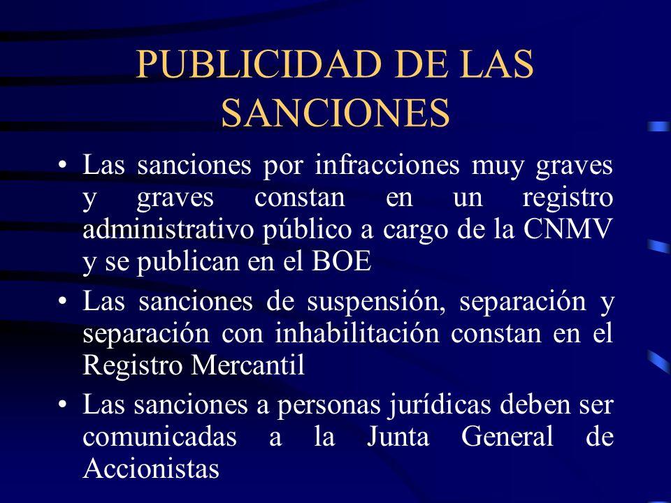 PUBLICIDAD DE LAS SANCIONES