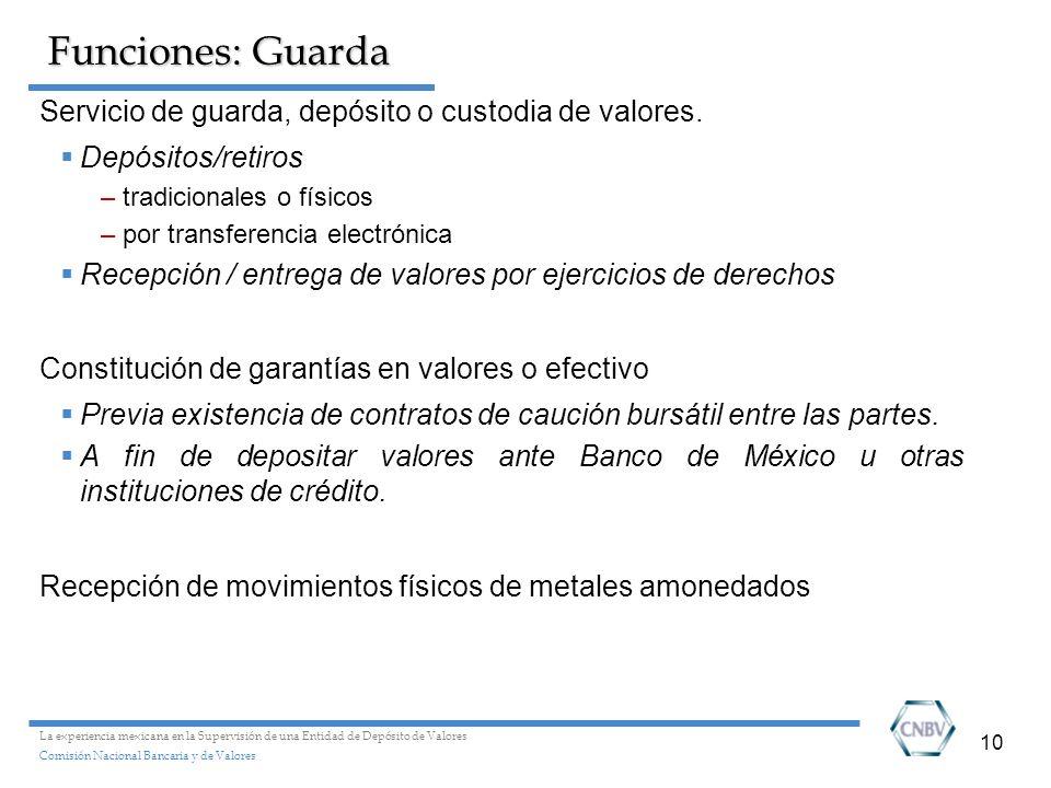 Funciones: Guarda Servicio de guarda, depósito o custodia de valores.