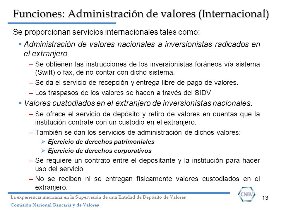Funciones: Administración de valores (Internacional)