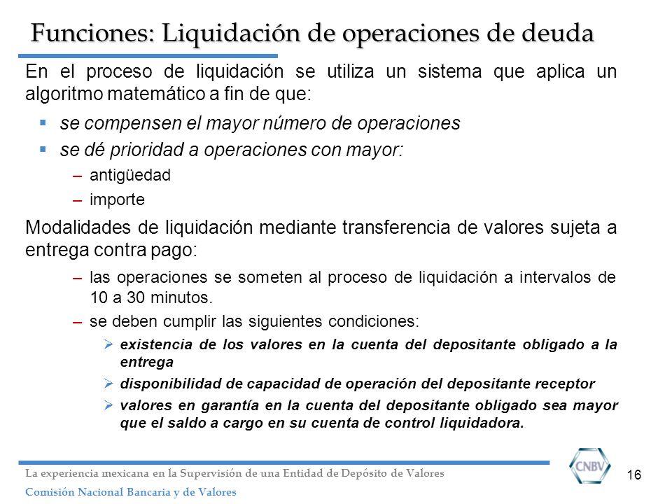 Funciones: Liquidación de operaciones de deuda