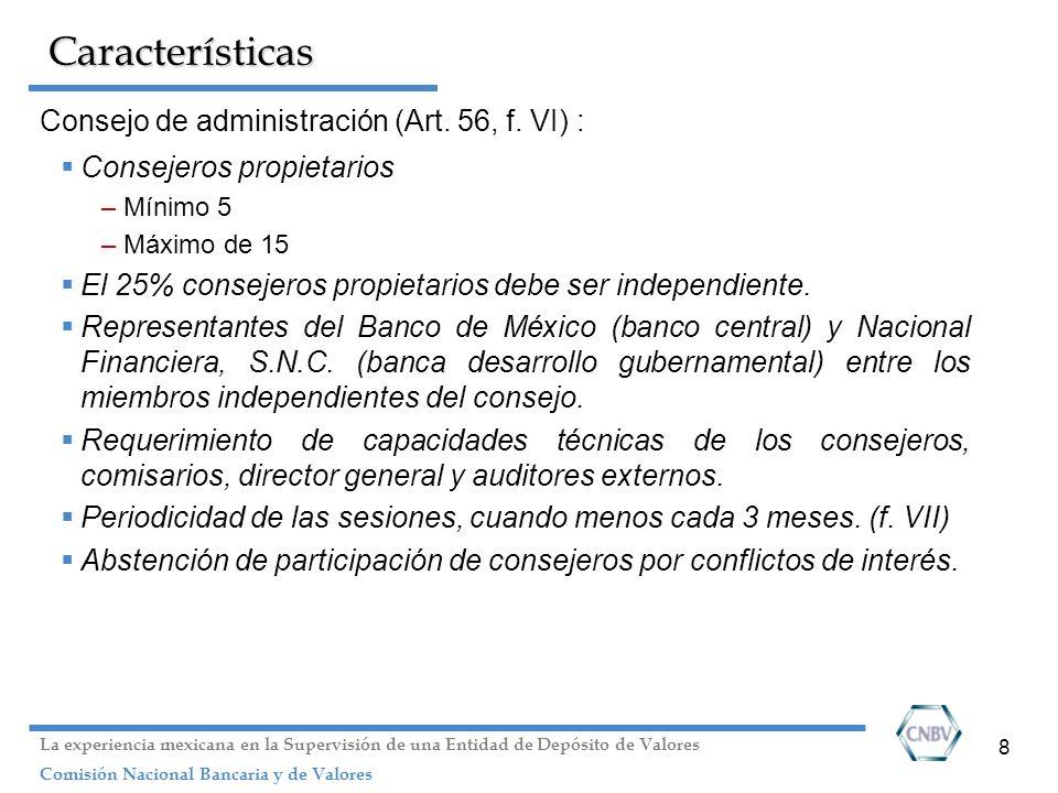 Características Consejo de administración (Art. 56, f. VI) :