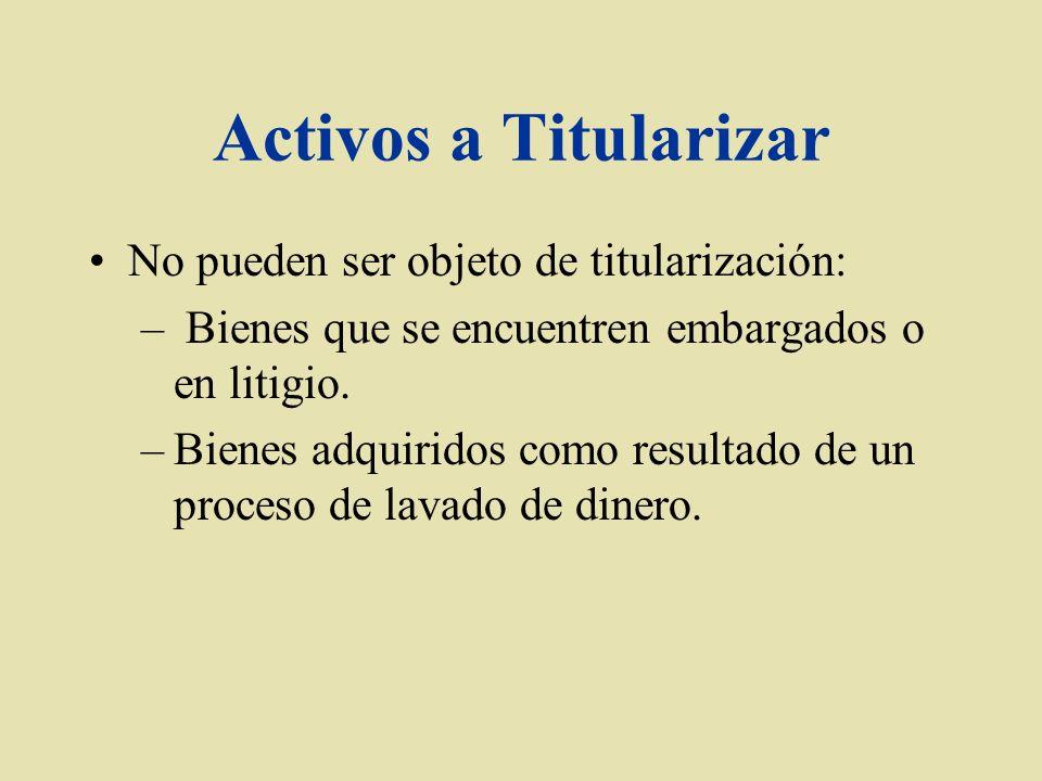Activos a Titularizar No pueden ser objeto de titularización: