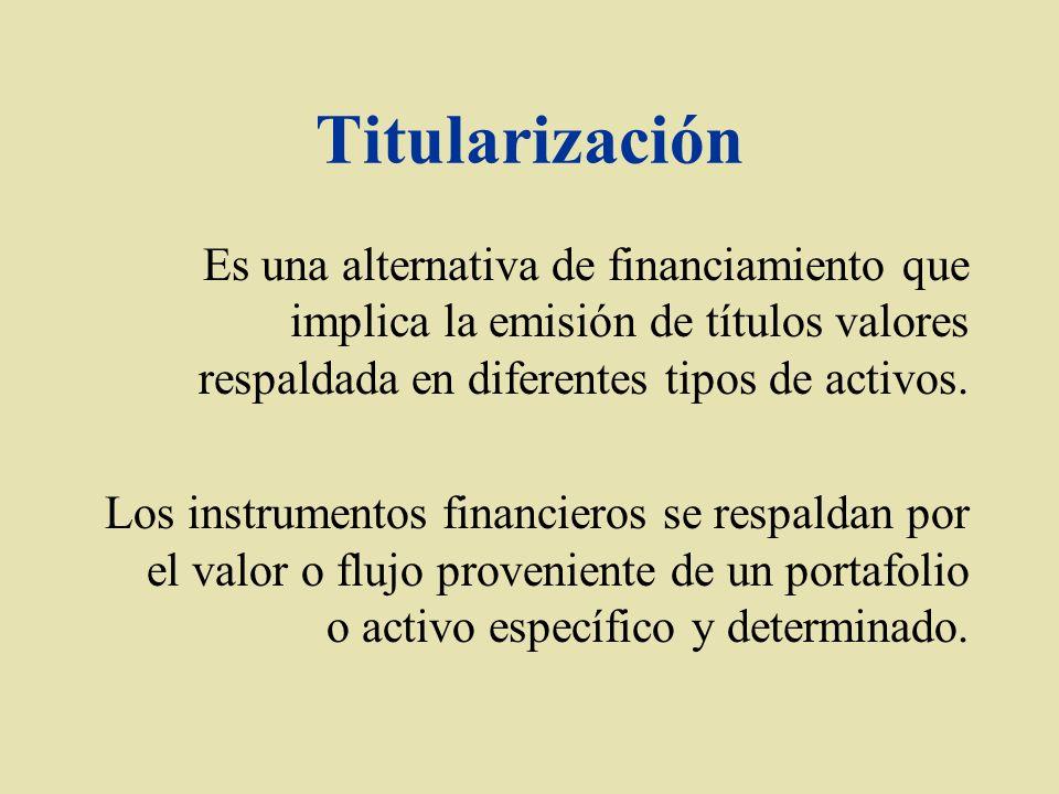 Titularización Es una alternativa de financiamiento que implica la emisión de títulos valores respaldada en diferentes tipos de activos.
