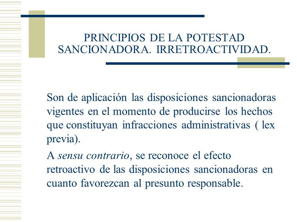 PRINCIPIOS DE LA POTESTAD SANCIONADORA. IRRETROACTIVIDAD.