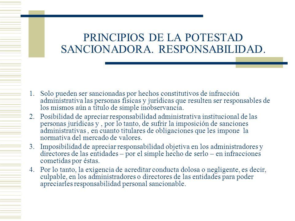 PRINCIPIOS DE LA POTESTAD SANCIONADORA. RESPONSABILIDAD.