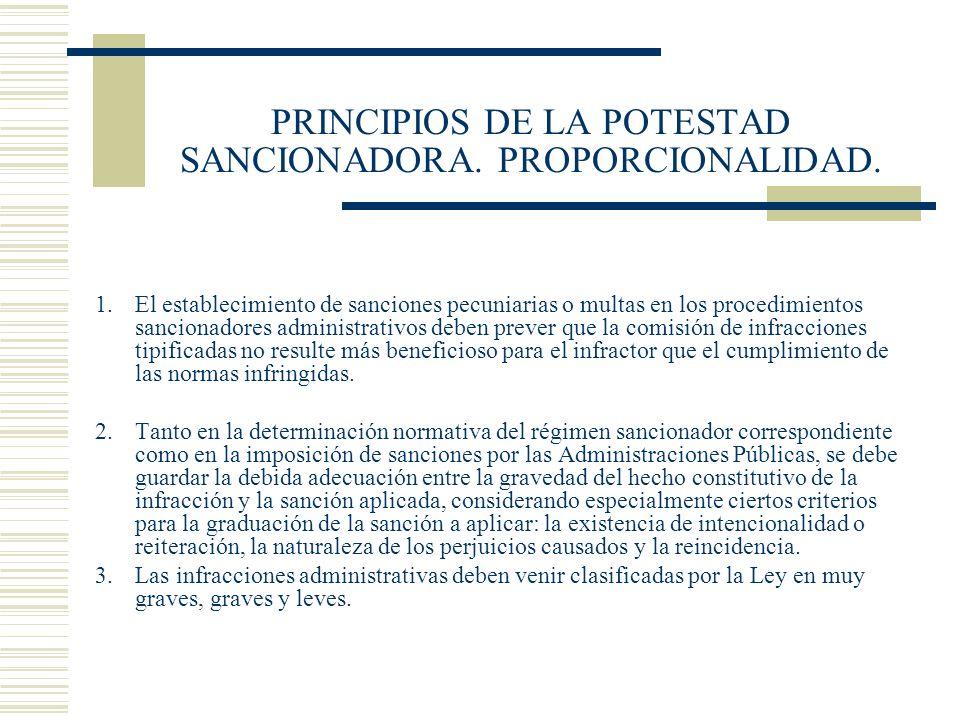 PRINCIPIOS DE LA POTESTAD SANCIONADORA. PROPORCIONALIDAD.