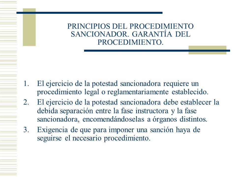 PRINCIPIOS DEL PROCEDIMIENTO SANCIONADOR. GARANTÍA DEL PROCEDIMIENTO.
