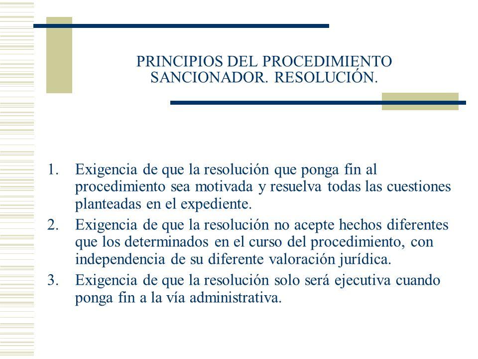 PRINCIPIOS DEL PROCEDIMIENTO SANCIONADOR. RESOLUCIÓN.