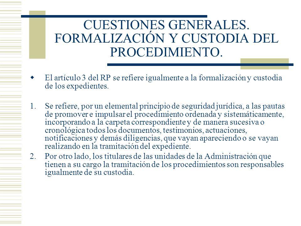 CUESTIONES GENERALES. FORMALIZACIÓN Y CUSTODIA DEL PROCEDIMIENTO.