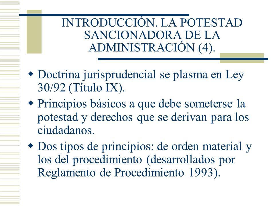 INTRODUCCIÓN. LA POTESTAD SANCIONADORA DE LA ADMINISTRACIÓN (4).