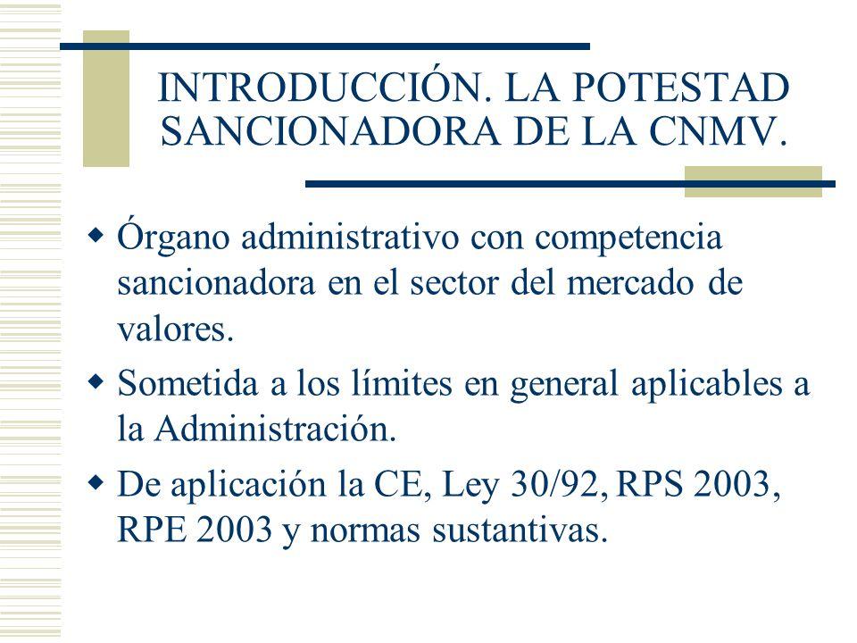 INTRODUCCIÓN. LA POTESTAD SANCIONADORA DE LA CNMV.