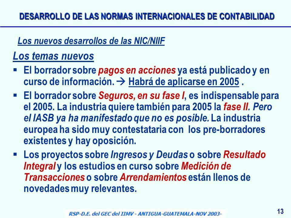 DESARROLLO DE LAS NORMAS INTERNACIONALES DE CONTABILIDAD