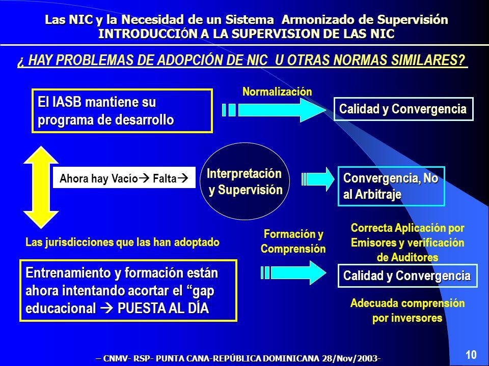 ¿ HAY PROBLEMAS DE ADOPCIÓN DE NIC U OTRAS NORMAS SIMILARES