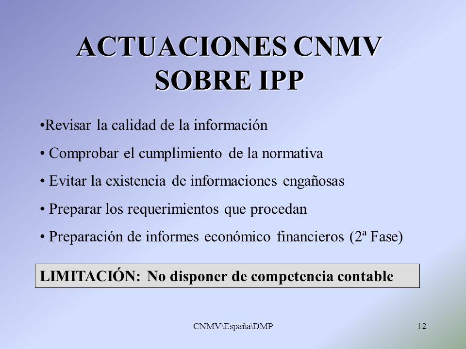 ACTUACIONES CNMV SOBRE IPP