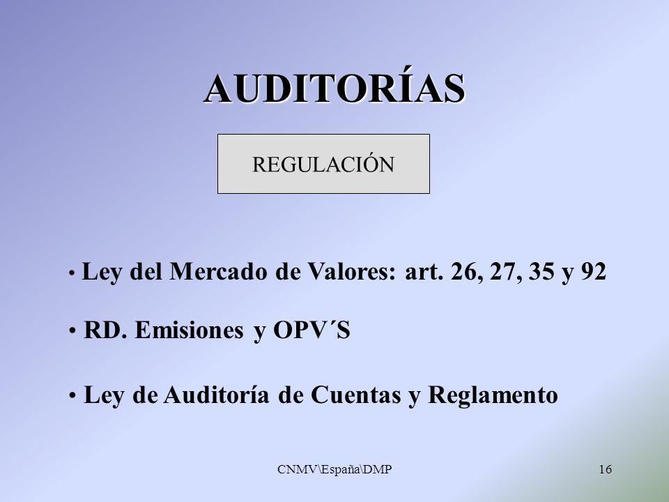 AUDITORÍAS RD. Emisiones y OPV´S