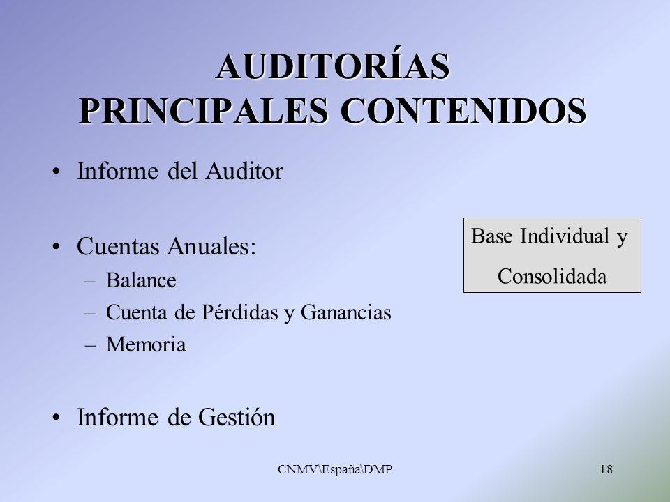 AUDITORÍAS PRINCIPALES CONTENIDOS