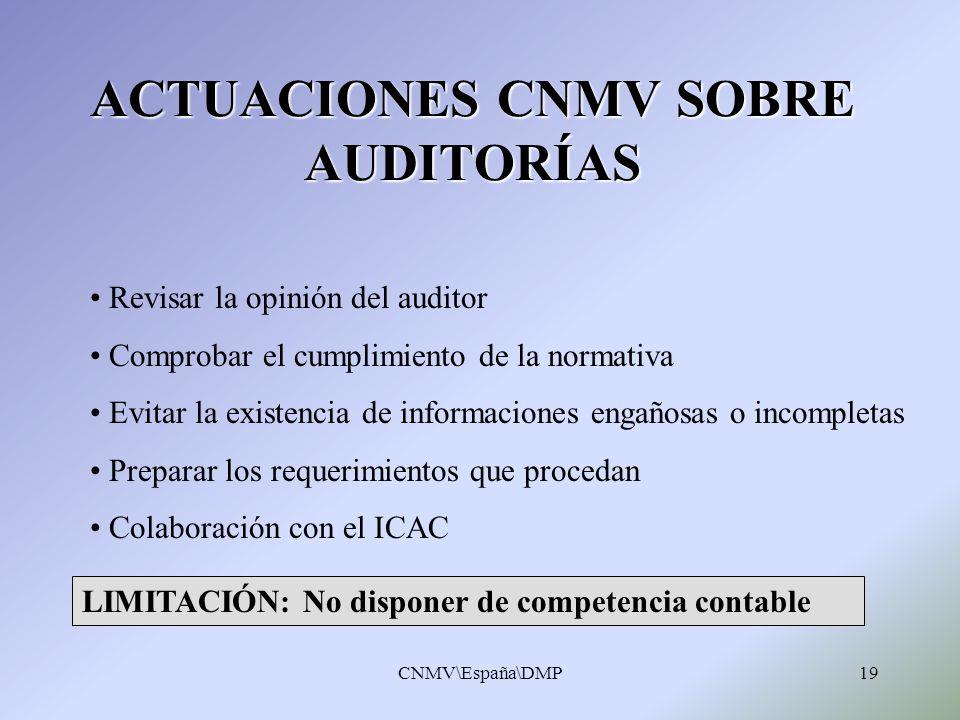 ACTUACIONES CNMV SOBRE AUDITORÍAS