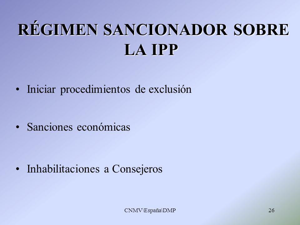 RÉGIMEN SANCIONADOR SOBRE LA IPP