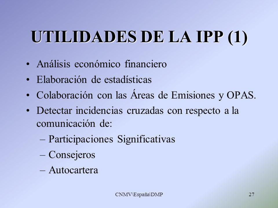 UTILIDADES DE LA IPP (1) Análisis económico financiero