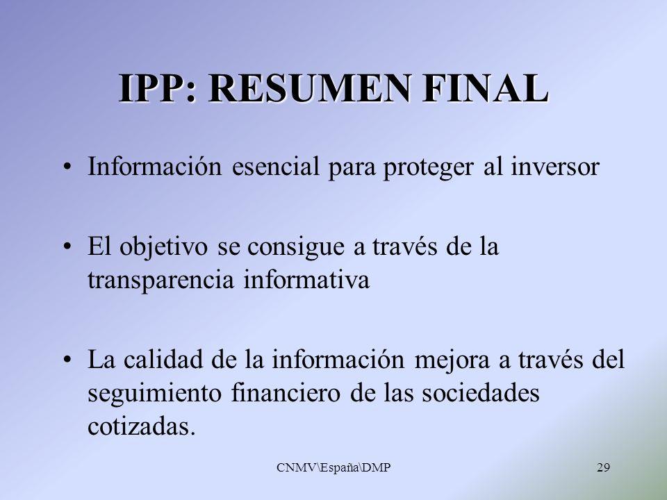 IPP: RESUMEN FINAL Información esencial para proteger al inversor