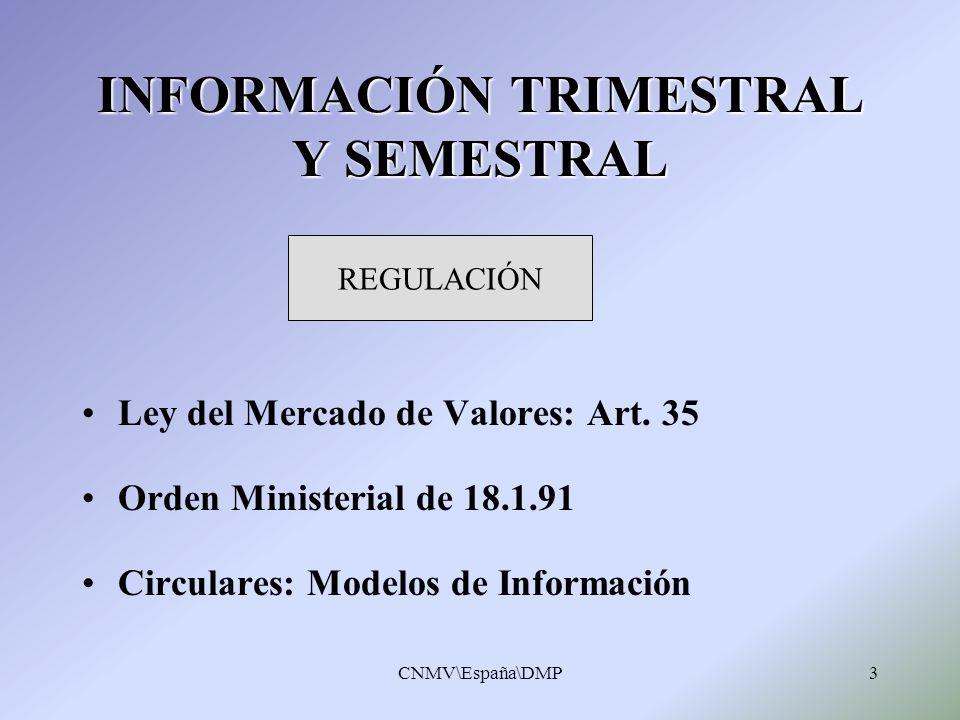 INFORMACIÓN TRIMESTRAL Y SEMESTRAL