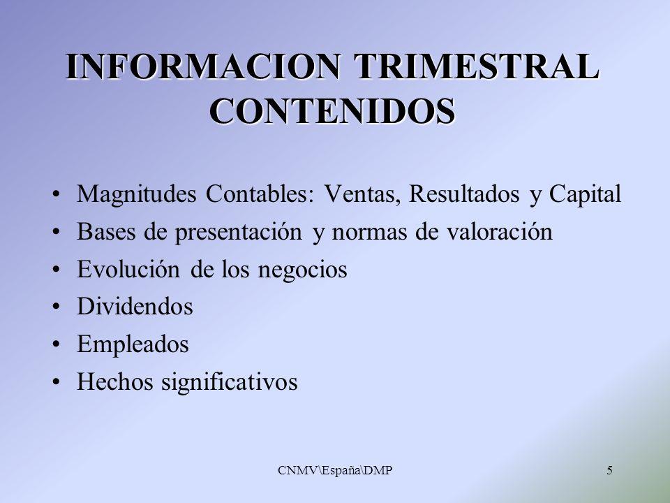 INFORMACION TRIMESTRAL CONTENIDOS