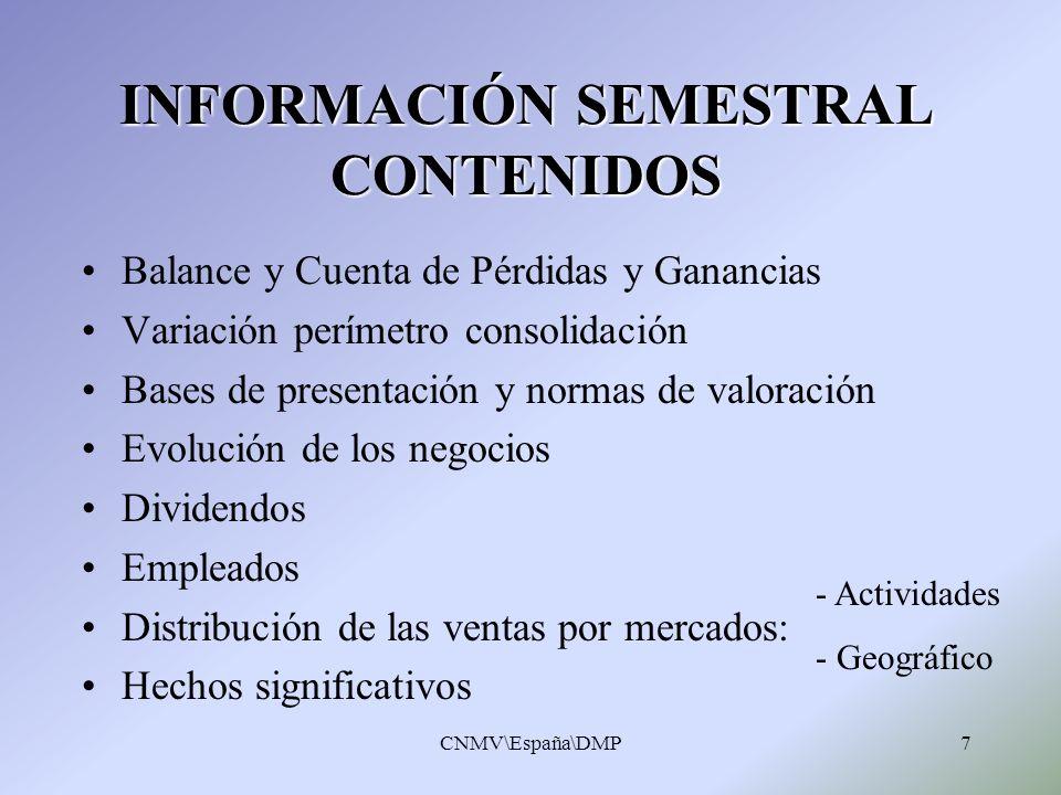 INFORMACIÓN SEMESTRAL CONTENIDOS