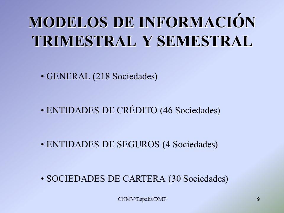 MODELOS DE INFORMACIÓN TRIMESTRAL Y SEMESTRAL