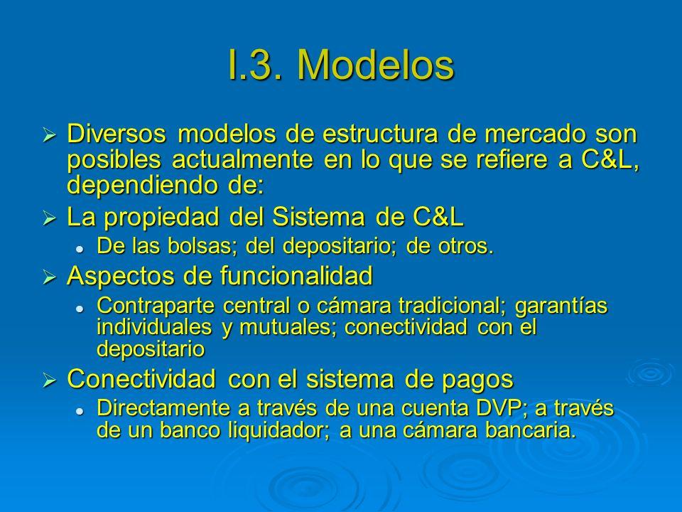I.3. Modelos Diversos modelos de estructura de mercado son posibles actualmente en lo que se refiere a C&L, dependiendo de: