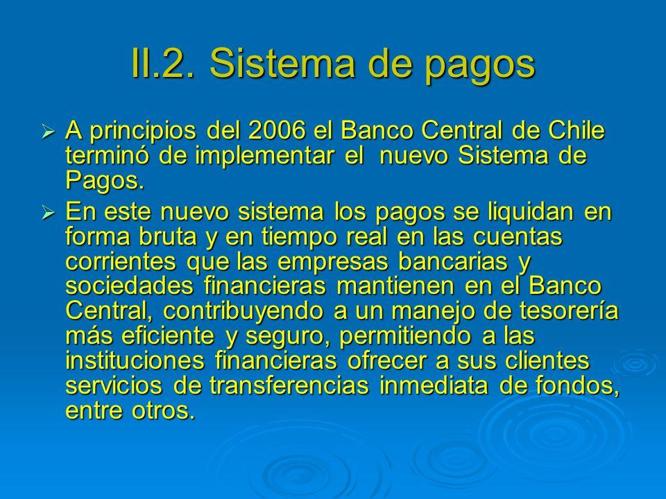 II.2. Sistema de pagos A principios del 2006 el Banco Central de Chile terminó de implementar el nuevo Sistema de Pagos.
