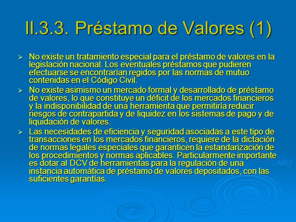 II.3.3. Préstamo de Valores (1)