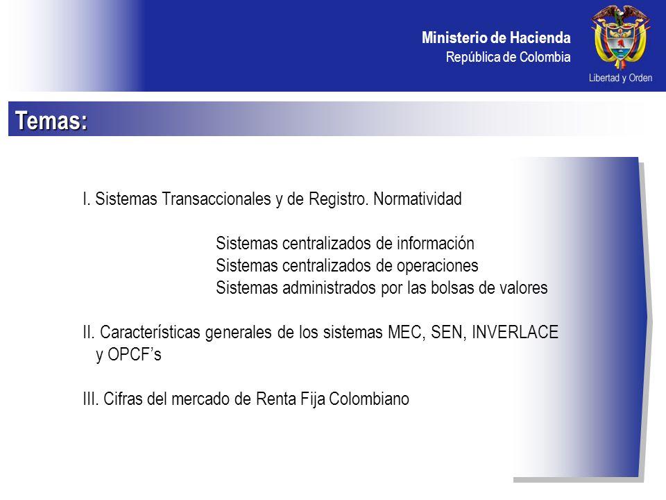 Temas: I. Sistemas Transaccionales y de Registro. Normatividad