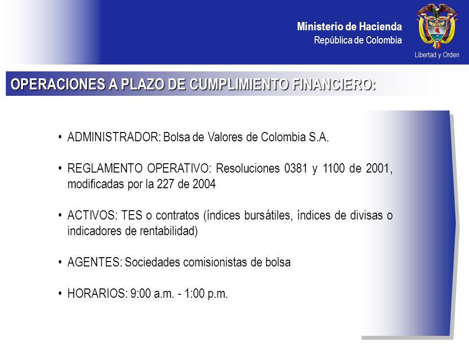 OPERACIONES A PLAZO DE CUMPLIMIENTO FINANCIERO: