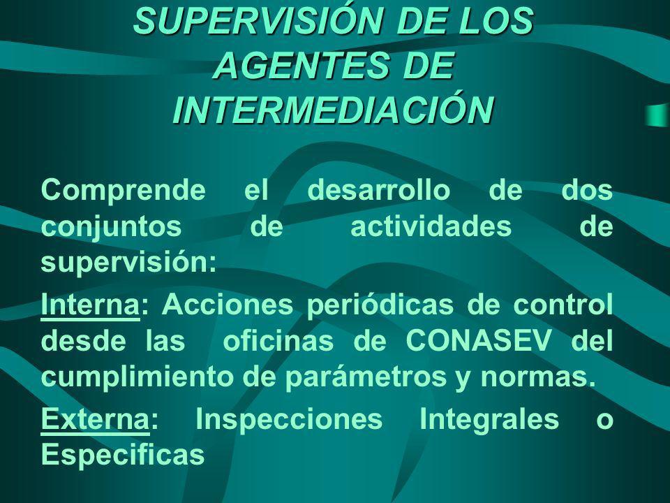 SUPERVISIÓN DE LOS AGENTES DE INTERMEDIACIÓN