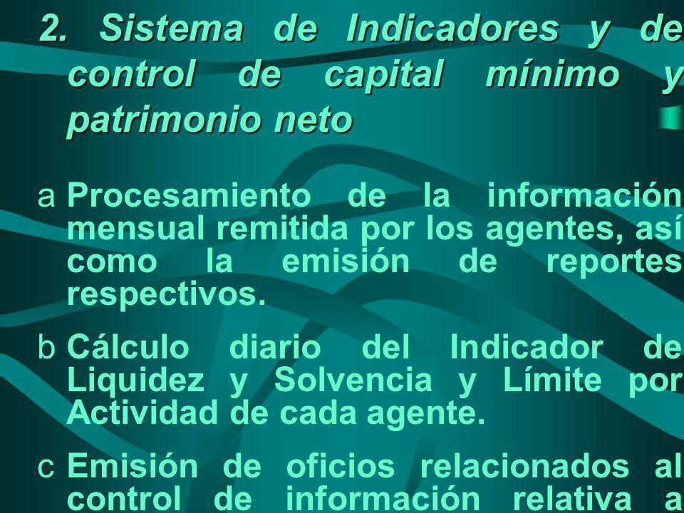 2. Sistema de Indicadores y de control de capital mínimo y patrimonio neto